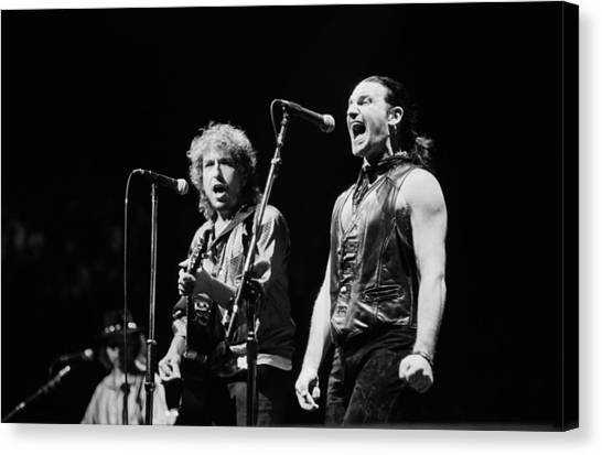 Southern Rock Canvas Print - Bob Dylan Performs With U2 In Concert by George Rose