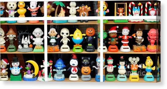 Canvas Print featuring the photograph Bobbleheads In Store Window In Schroon Lake Ny In Adirondacks by Rose Santuci-Sofranko