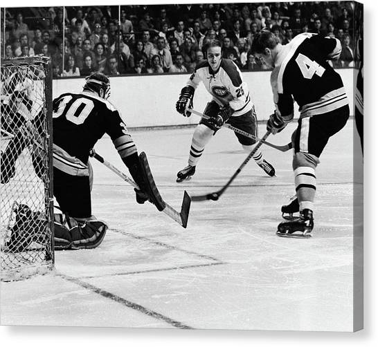 Bobby Orr Canvas Print - Bobby Orr And Gerry Cheevers by Positive Images