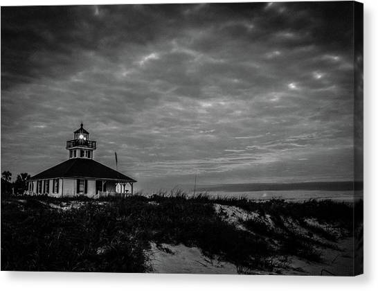 Boca Grande Lighthouse Black And White Canvas Print