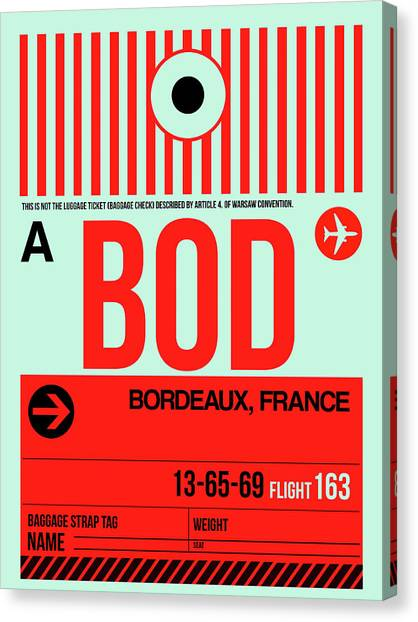 French Canvas Print - Bod Bordeaux Luggage Tag I by Naxart Studio