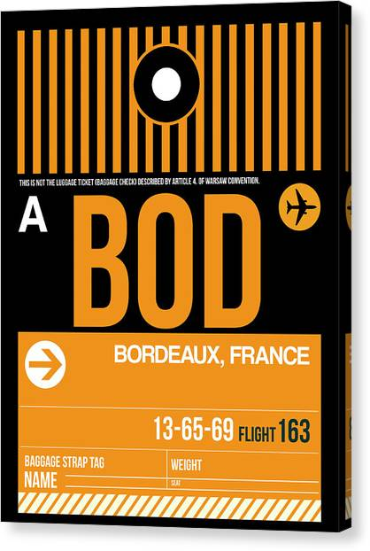 French Canvas Print - Bod Bordeaux Luggage Tag II by Naxart Studio