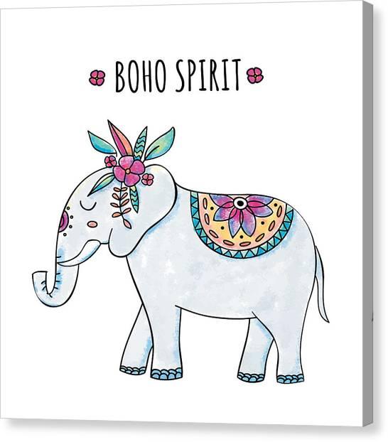 Boho Spirit Elephant - Boho Chic Ethnic Nursery Art Poster Print Canvas Print