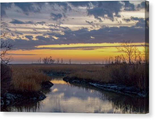 Canvas Print featuring the photograph Bombay Hook Dawn's Early Light by Kristia Adams