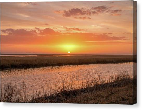 Canvas Print featuring the photograph Bombay Hook Sunrise by Kristia Adams