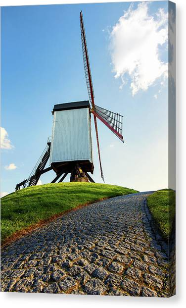 Canvas Print featuring the photograph Bonne Chiere Windmill Bruges Belgium by Nathan Bush