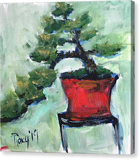 Farmhouse Canvas Print - Bonsai In A Red Pot by Roxy Rich