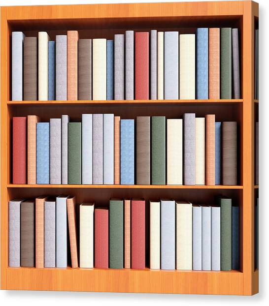 Book Case With Shelving Full Of Books Canvas Print