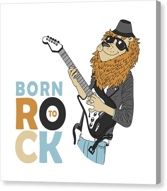 Born To Rock - Baby Room Nursery Art Poster Print Canvas Print