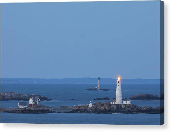 Canvas Print featuring the photograph Boston Light And Graves Light by Juergen Roth