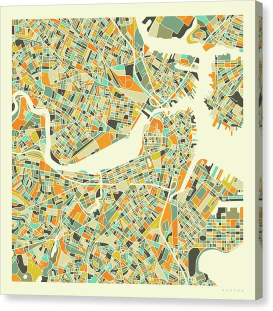 Street Canvas Print - Boston Map 1 by Jazzberry Blue