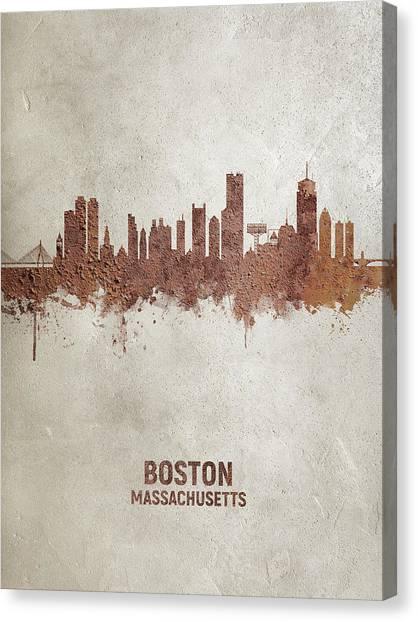 Boston Skyline Canvas Print - Boston Massachusetts Rust Skyline by Michael Tompsett