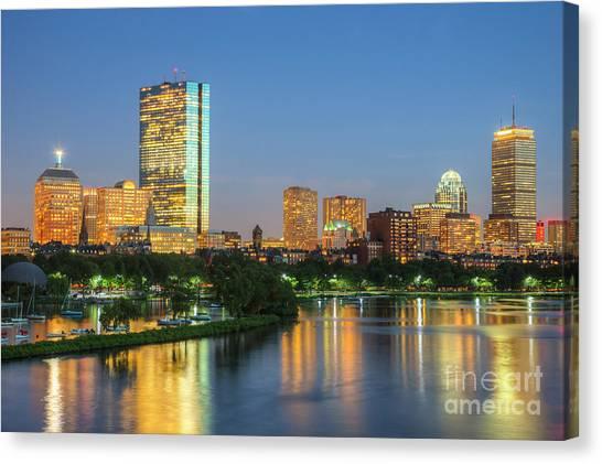 Boston Night Skyline II Canvas Print