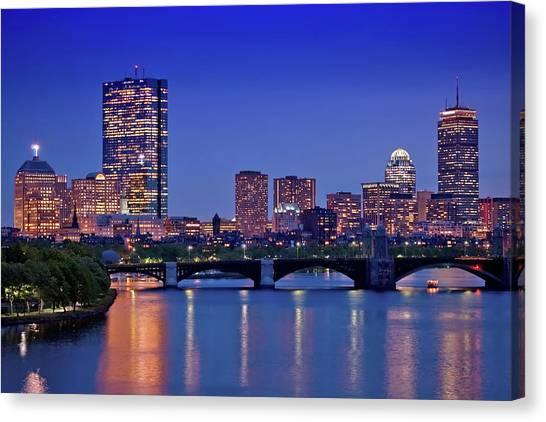 Hancock Building Canvas Print - Boston Nights 2 by Joann Vitali
