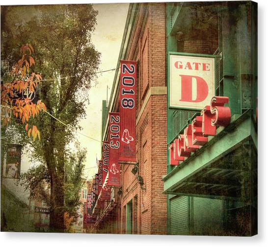 Canvas Print featuring the photograph Boston Red Sox Fenway Park 2018 World Series Champion Banner by Joann Vitali