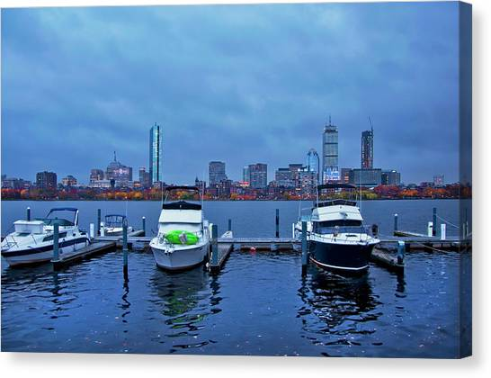 Canvas Print featuring the photograph Boston Skyline At Night In Autumn by Joann Vitali