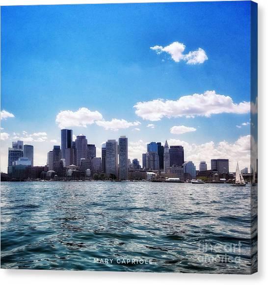 Boston Skyline From Boston Harbor  Canvas Print