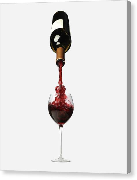 Bottle Pouring Wine In Wine Canvas Print