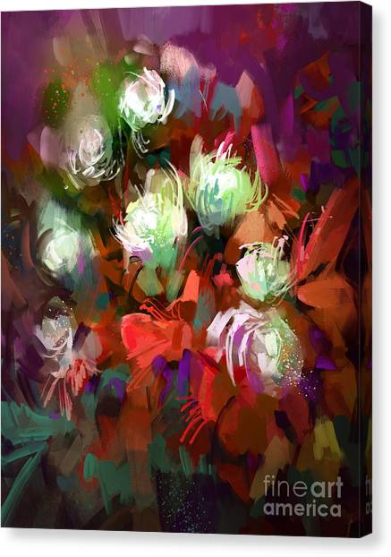 Presents Canvas Print - Bouquet Of Colorful Flowers,digital by Tithi Luadthong