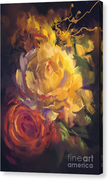 Acrylic Canvas Print - Bouquet Of Colorful Roses With Oil by Tithi Luadthong