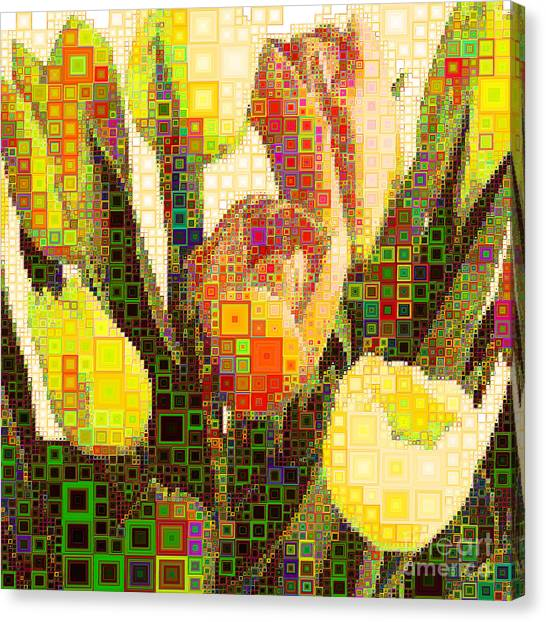 Andy Bloom Canvas Print - Bouquet Of Tulips In Abstract Squares 20190201sq by Wingsdomain Art and Photography