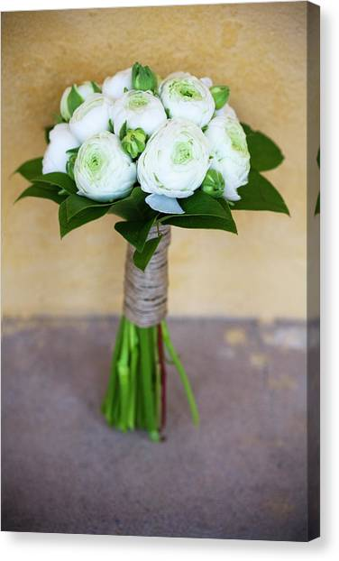 Vase Of Flowers Canvas Print - Bouquet Of White Ranunculus Ranunculus by Ewa Ahlin