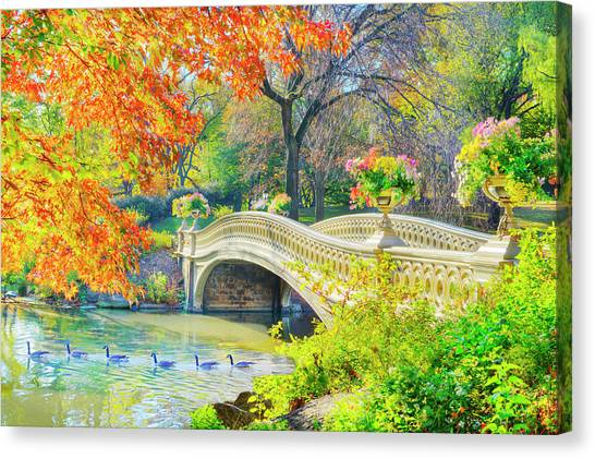 Bow Bridge, Central Park, In Autumn Canvas Print by Mitchell Funk