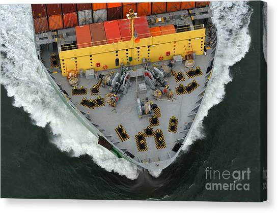 Freight Canvas Print - Bow Of Cargo Ship From Above by Jimmux
