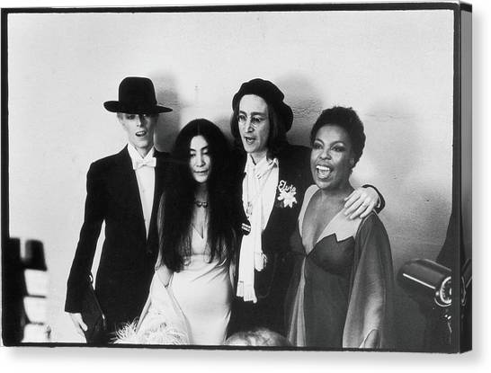 Bowie, Ono, Lennon, & Flack At The Canvas Print by Fred W. McDarrah