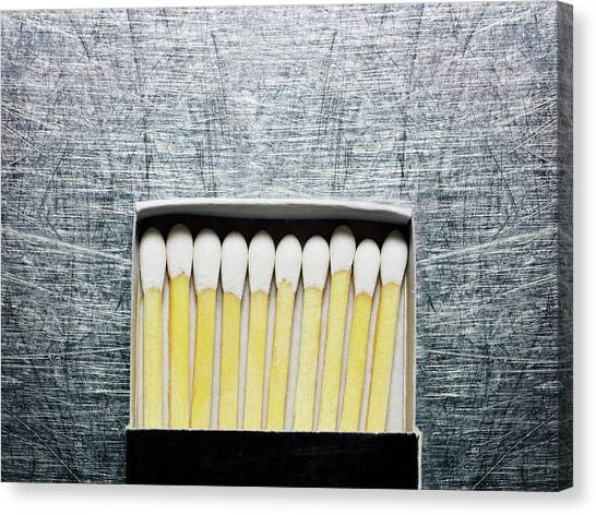 Box Of Wooden Matches On Stainless Canvas Print