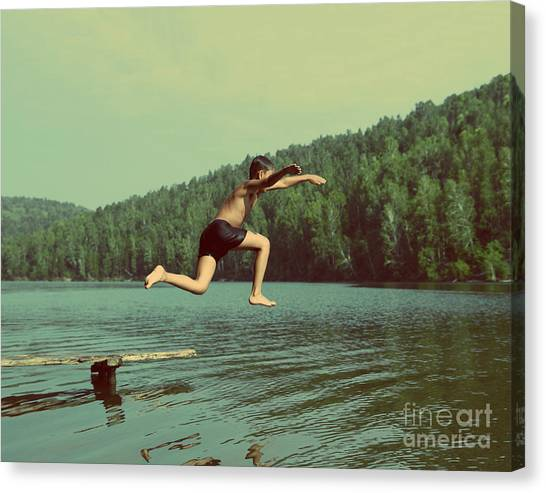 Happiness Canvas Print - Boy Jumping In Lake At Summer Vacations by Kokhanchikov