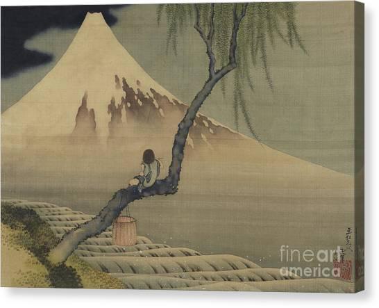Ice Climbing Canvas Print - Boy Viewing Mount Fuji, 1839 by Hokusai