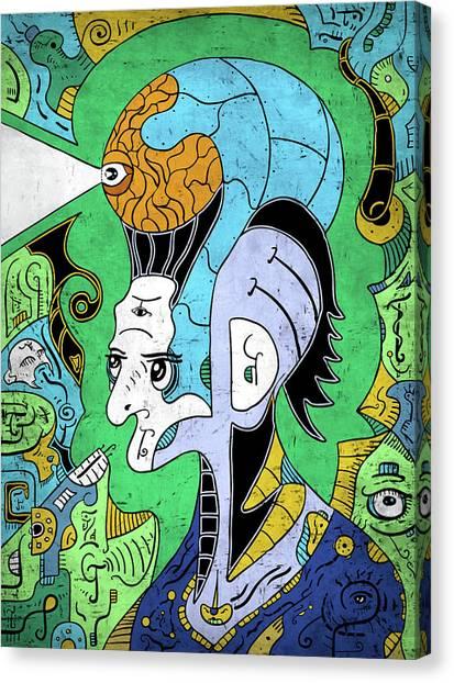 Canvas Print featuring the digital art Brain-man by Sotuland Art