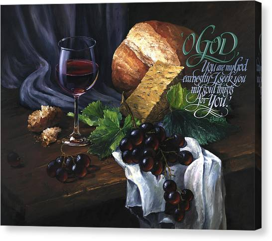 Canvas Print featuring the painting Bread And Wine by Clint Hansen