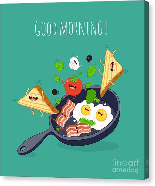 Ingredient Canvas Print - Breakfast Poster. Fried Eggs With Bacon by Serbinka