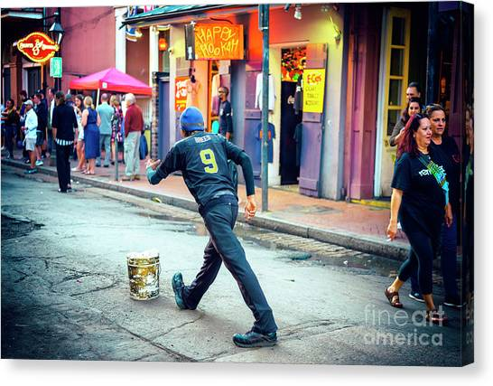 Drew Brees Canvas Print - Brees On Bourbon Street New Orleans by John Rizzuto