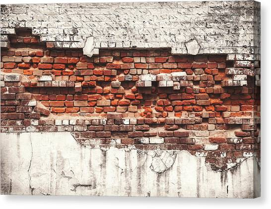 Brick Wall Falling Apart Canvas Print by Ty Alexander Photography