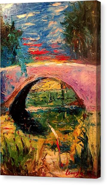 Canvas Print featuring the painting Bridge At City Park by Amzie Adams