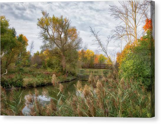Canvas Print featuring the photograph Bridge Over Ellicott Creek by Guy Whiteley