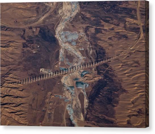 Gobi Canvas Print - Bridge Project In Gobi Desert by Victor Gil Gazapo