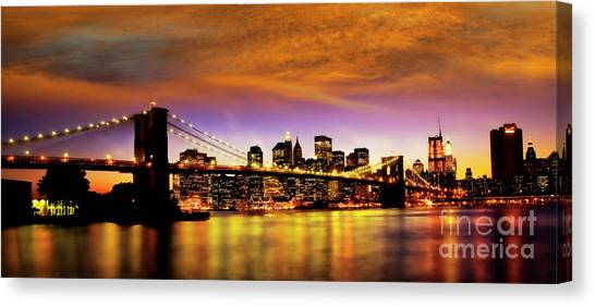 Canvas Print featuring the photograph Bridging The East River by Scott Kemper