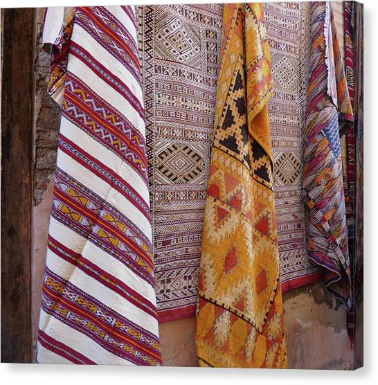 Bright Colored Patterns On Throw Rugs In The Medina Bazaar  Canvas Print