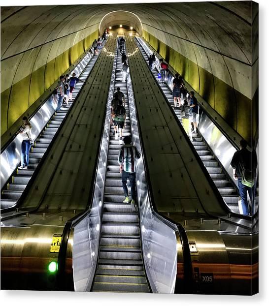 Bright Lights, Tall Escalators Canvas Print