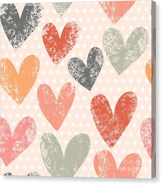 Wedding Gift Canvas Print - Bright Romantic Seamless Pattern Made by Smilewithjul