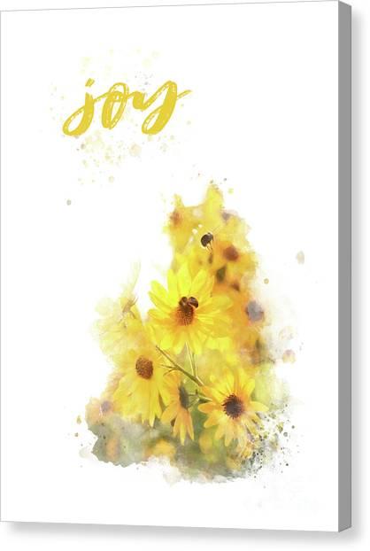 Bright Watercolor Print, Floral Wall Art, Joy Canvas Print