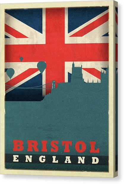 Bristol Canvas Print - Bristol England World City Flag Skyline by Design Turnpike
