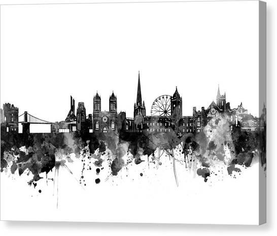 Bristol Canvas Print - Bristol Skyline Bw by Bekim M