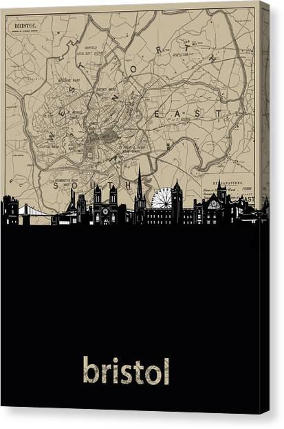 Bristol Canvas Print - Bristol Skyline Map by Bekim M