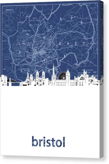 Bristol Canvas Print - Bristol Skyline Map Blue by Bekim M