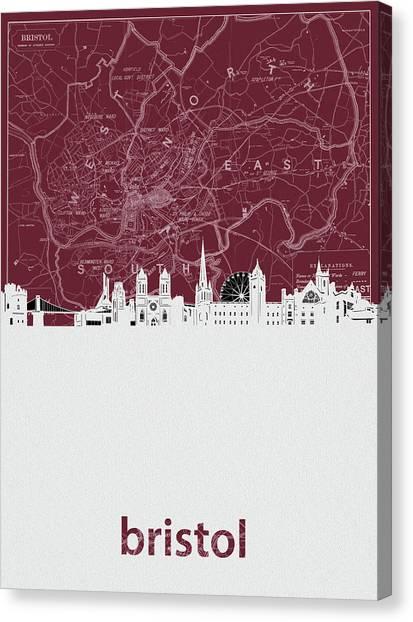 Bristol Canvas Print - Bristol Skyline Map Red by Bekim M